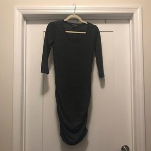 Cotton side ruched 3/4 sleeve dress